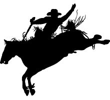Rodeo Theme - Bucking Bronc Silhouette Photographic Print