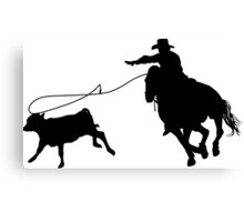 Rodeo Theme - Calf Roping Silhouette Canvas Print