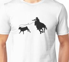 Rodeo Theme - Calf Roping Silhouette Unisex T-Shirt