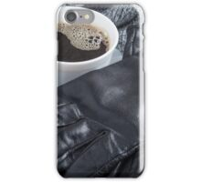 Grey wool scarf and leather gloves around the white cup of coffee iPhone Case/Skin