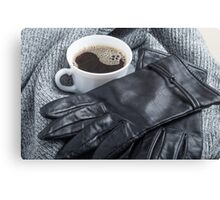 Grey wool scarf and leather gloves around the white cup of coffee Canvas Print