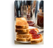 Fried toast with strawberry jam Canvas Print
