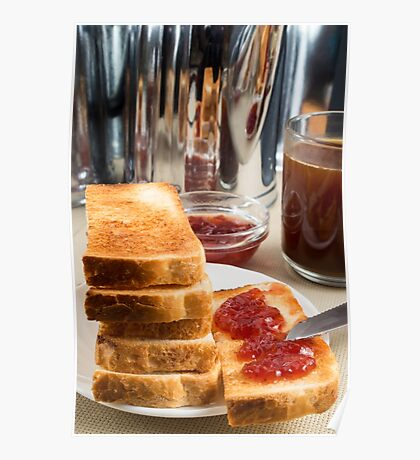 Fried toast with strawberry jam Poster