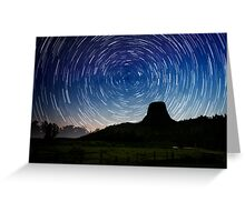 Star trails over Devils Tower Greeting Card