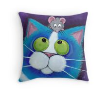 Blueberry and Wee Mousey Throw Pillow