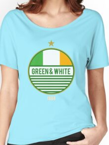 Glasgow's Green & White Women's Relaxed Fit T-Shirt