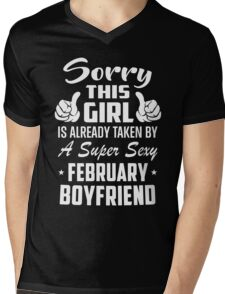 This Girl Is Taken By A Sexy February Boyfriend Mens V-Neck T-Shirt