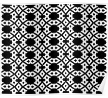 Arrows and Diamond Black and White Pattern 3 Poster