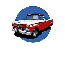 1966 Ford F100 Custom Cab - Red & White Photographic Print