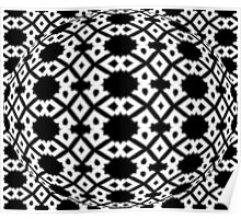 Diamond and Circles Black and White Pattern Poster