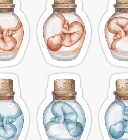 Watercolor fetus in the glass bottle Sticker