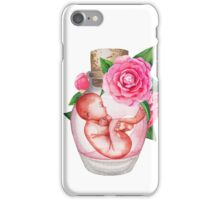 Watercolor fetus in the glass bottle with floral decorations iPhone Case/Skin