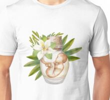 Watercolor fetus in the glass bottle with floral decorations Unisex T-Shirt