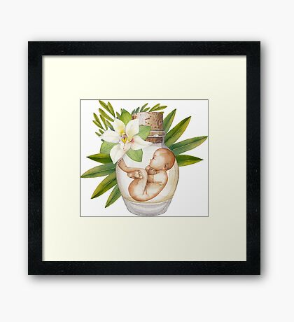 Watercolor fetus in the glass bottle with floral decorations Framed Print