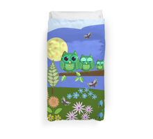 Cute Owls in Fantasy Summer Land Duvet Cover