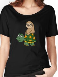 Funny Funky Sloth Riding on Turtle Cartoon Women's Relaxed Fit T-Shirt