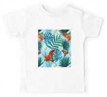 Sky blue tropical floral Kids Tee