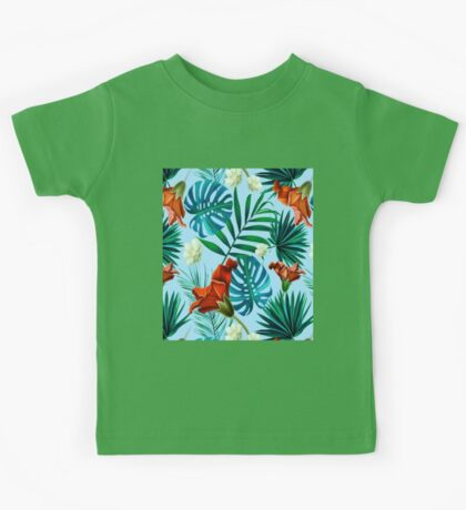 Sky blue tropical floral Kids Tee