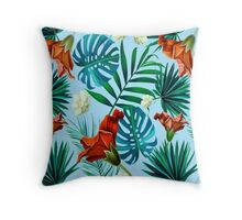 Sky blue tropical floral Throw Pillow
