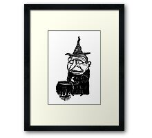 Abstract witch art print, cartoon paintings for sale Framed Print