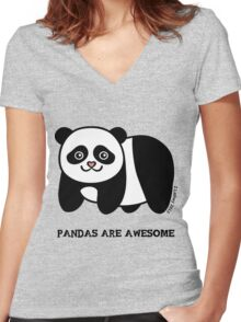 Pandas are Awesome Women's Fitted V-Neck T-Shirt