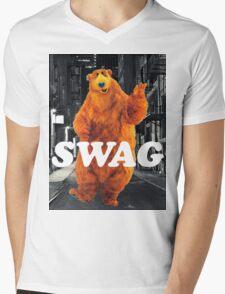Bear in the hoodSwag Mens V-Neck T-Shirt