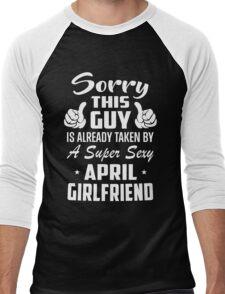 This Guy Is Taken By A Super Sexy April Girlfriend Men's Baseball ¾ T-Shirt