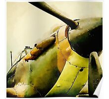 Vintage Spitfire in watercolour style Poster