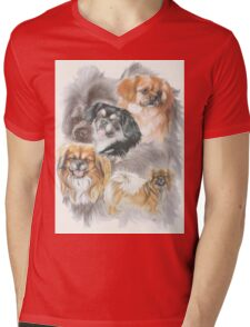 Tibetan Spaniel/Ghost Mens V-Neck T-Shirt