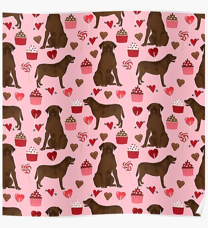 Chocolate Lab valentines day dog breed custom gifts for dog lover with labrador retrievers by PetFriendly Poster