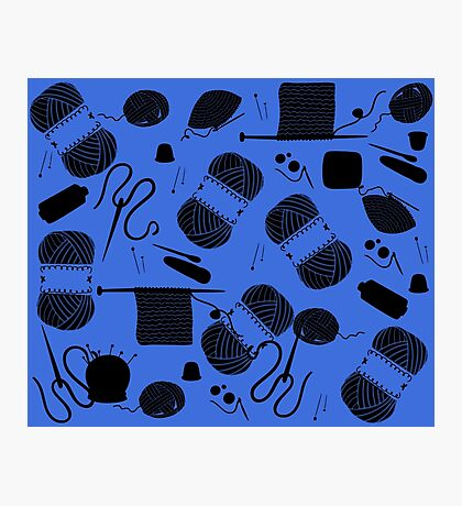 Yarn electric blue Photographic Print