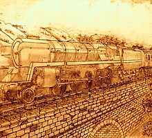 A Sepia Version of The Last of the British Rail Steam Locomotives by Dennis Melling