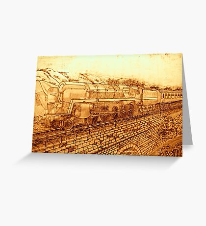 A Sepia Version of The Last of the British Rail Steam Locomotives Greeting Card
