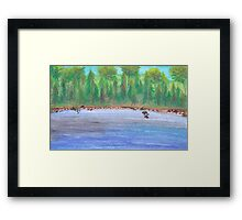 Finnish lakeview vector Framed Print