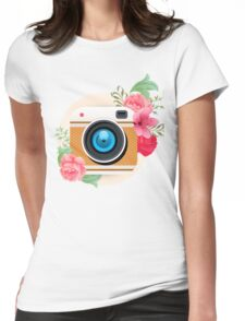 Retro Camera Floral Poloraid Sticker Womens Fitted T-Shirt