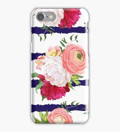 Burgundy red and white peonies, ranunculus, rose seamless vector pattern. Navy striped elegant print with luxury bright flowers iPhone Case/Skin