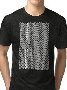 Grey Knit With White Stripe Tri-blend T-Shirt