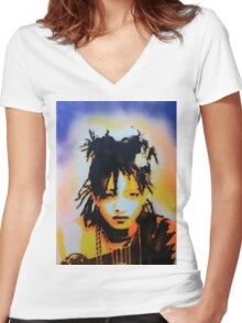 Willow Smith Stencil Women's Fitted V-Neck T-Shirt