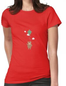 Brown Bear with Kite Womens Fitted T-Shirt