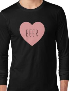 I Love Beer Heart Black Long Sleeve T-Shirt