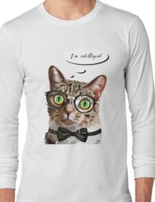 Hand drawn portrait of Cat with glasses and bow tie Long Sleeve T-Shirt