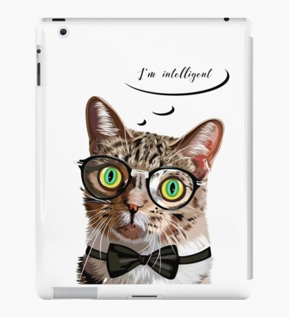 Hand drawn portrait of Cat with glasses and bow tie iPad Case/Skin