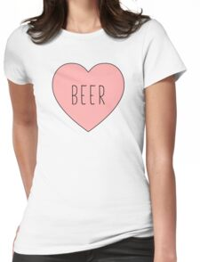 I Love Beer Heart White Womens Fitted T-Shirt