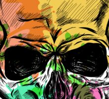 Skull Sketch With Watercolor Effect. Sticker