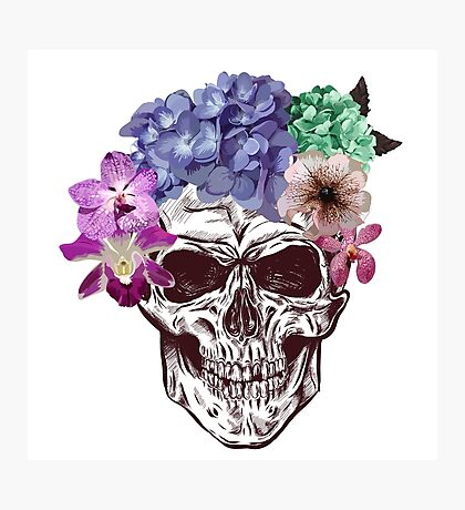 hand drawn anatomy skull with different flowers and sunglasses.  Photographic Print
