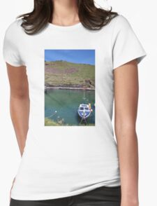 Boscastle Harbour Boat Womens Fitted T-Shirt