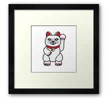 Maneki Neko lucky cat Framed Print