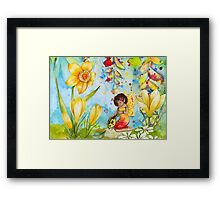 Young fairytale girl with ladybug between flowers Framed Print