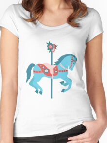 Blue Carousel Horse Women's Fitted Scoop T-Shirt