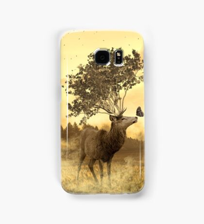 Deer with tree and butterfly fairytale illustration Samsung Galaxy Case/Skin